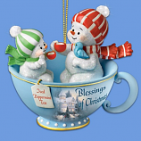 Blessings of Christmas Snowman Teacup Ornament