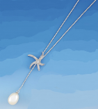 Starfish with Pearl Lariat Necklace