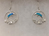 Blue Dolphin Circle Earrings