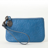 Gracie Blue Leather Wristlet
