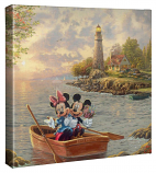"""Mickey & Minnie Lighthouse Cove Afternoon 14""""x14"""" Canvas Wrap"""