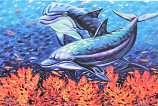 Playful Dolphins Canvas Wrap