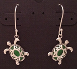 Green Sea Turtle Filigree Dangle Earrings