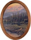 Evening Majesty Canoe Framed Oval Art