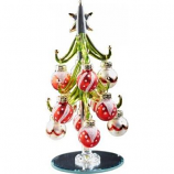 "Red & White Ornaments Glass Tree - 6"" H"