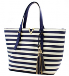 Navy & White Striped Tassel Bag